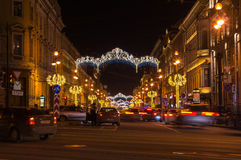 Nevsky prospect in Saint Petersburg. SAINT- PETERSBURG, RUSSIA - DECEMBER 27, 2015: Nevsky prospect in the New Year`s Eve in the evening light, Saint-Petersburg Stock Image