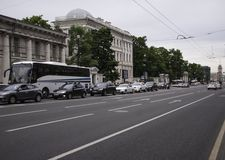 Nevsky Prospect. SAINT-PETERSBURG, RUSSIA - June 02, 2016, Nevsky Prospect in St. Petersburg, Russia. One of the main streets of the city. in St. Petersburg Royalty Free Stock Image