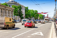 Nevsky prospect in Saint Petersburg, Russia. SAINT PETERSBURG, RUSSIA - MAY 25, 2015: View of Nevsky prospect in Saint Petersburg, Russia Royalty Free Stock Photo