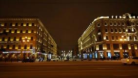 Nevsky Prospect in Saint Petersburg. Nevsky Prospect in winter evening in St. Petersburg, view of Malaya Konyushennaya street Royalty Free Stock Photo