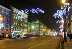 Nevsky Prospect in St. Petersburg at Christmas night Stock Images