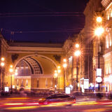 Nevsky Prospect in St. Petersburg. At night illumination with blured traffic on road, Russia Royalty Free Stock Images