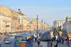 Nevsky Prospect in St.Petersburg. ST.PETERSBURG, RUSSIA - MARCH 27, 2016: Nevsky Prospect at sunny spring day. Main street of St. Petersburg, which stretches Stock Photos