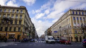 Nevsky Prospect in St. Petersburg, Russia Royalty Free Stock Photos