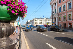 Nevsky Prospect in the summer sunny day. Now it is main street,. ST. PETERSBURG, RUSSIA - JULY 27, 2016: Nevsky Prospect in the summer sunny day. Now it is main Stock Photo