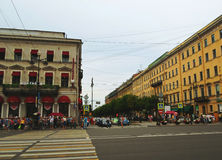 Nevsky Prospect in the summer sunny day Stock Photos