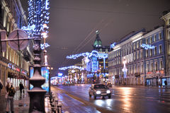 Nevsky Prospekt night Royalty Free Stock Image