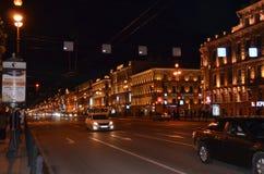 Nevsky Prospekt at Night Stock Photo