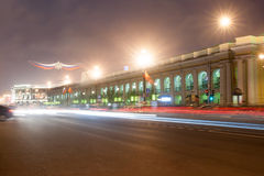 Nevsky Prospekt in St. Petersburg at night illumination with blured traffic on road Stock Photo