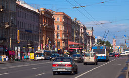 Nevsky utsikt i St Petersburg Royaltyfri Foto