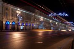 Nevsky utsikt på natten, Ryssland Fotografering för Bildbyråer
