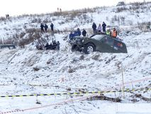 Nevyansk,俄罗斯, 2018年2月23日,冬天越野赛跑 免版税库存照片