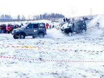 Nevyansk,俄罗斯, 2018年2月23日,开放冬天越野赛跑 库存图片