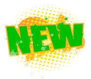 New. Text 'new' in green uppercase letters with yellow spotted artistic background Stock Images