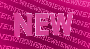 New. Illustration of a pink «new» sign on a background the the same text in small caps Stock Image