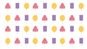 Set of trendy trees pattern hand drawn style illustration for background and print vector illustration