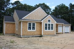 New 2 car garage. A new house under construction in the suburbs Stock Photo