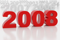 New 2008 year. High resolution image new-year.  3d illustration over white backgrounds Royalty Free Stock Photo