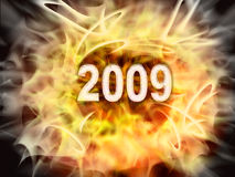 New 2009. Number  2009  burning hot from a fire . It is drawn in 2d Royalty Free Stock Images