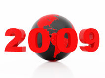 New 2009 year. High resolution image new-year.  3d illustration over white backgrounds Stock Photography