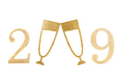 New 2009 Year. New Year 2009 with two champagne glasses as zero digits over white stock illustration