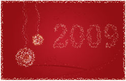 New 2009 Year Card. With sparkling christmas ball on stars background with sparkling frame Royalty Free Stock Image