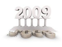 New 2009 year is comming. 2009 stands on a pedestal; below lays the old, dirty 2008 Stock Photos