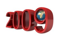 New 2009 year numbers with globe. Isolated on white stock illustration
