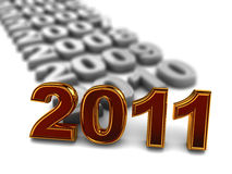 New 2011 year. 3d illustration of year numbers row with new 2011 at front Stock Photos