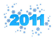 New 2011 year. 3d illustration of 2011 year sign with snowflakes, over white background Royalty Free Illustration