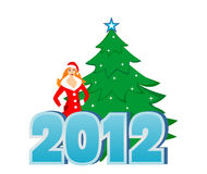 New 2012. Snow Maiden with the fir-tree stock illustration