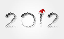 New 2012 with a hat. Background for the new 2012 with a hat of Santa Claus Royalty Free Stock Photos