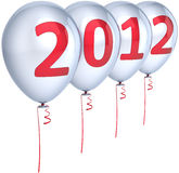 New 2012 Year balloons decoration white. New 2012 Year party balloons decoration colored silver with red date. Happy Merry Christmas joy fun abstract. Design Stock Photography