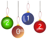 New 2012 Year Christmas balls Royalty Free Stock Photo