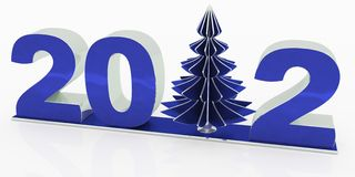 New 2012 year with christmas tree Stock Image