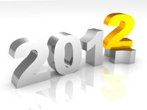 New 2012 year metal sign numbers. 3d Royalty Free Stock Photo