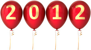 New 2012 Year party balloons red decoration Royalty Free Stock Images