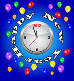 New 2012 Year party time. New year party time clock and full of balloons Royalty Free Stock Image