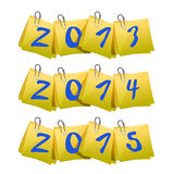 New 2013, 2014, 2015 Year on sticky notes Stock Photo