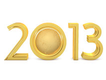 New in 2013. Golden numbers with the planet in on a white background Stock Images