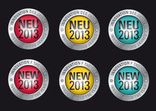 NEW 2013. Advertisement Button promoting the Innovation of the year 2013 in german and english language stock illustration