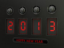 New in 2013. Electronic code 2013 with  button  wishes for happiness Stock Photos