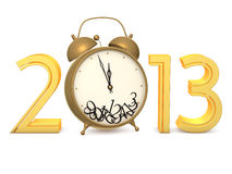 New in 2013. Gold 2013 numbers with an alarm clock on a white background Royalty Free Stock Photo