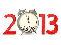 New in 2013. Red numbers 2013 with an alarm clock on a white background Stock Photo
