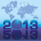 New 2013 year card with globe. Vector illustration royalty free illustration