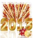 New 2013 year card with xmas balls Royalty Free Stock Photos