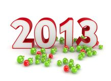 New 2013 year concept. Isolated on white background.3d rendered royalty free illustration