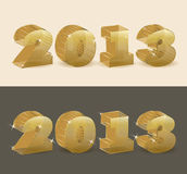 New 2013 year golden transparent. Royalty Free Stock Photography
