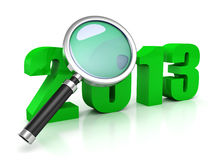 New 2013 year green symbol under magnifier. 3d Stock Photography