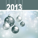 New 2013 year greeting card. With Christmas balls and white snowflakes Royalty Free Stock Photo